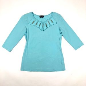 Bebe 3/4 Sleeve Cutout Chest Turquoise Top